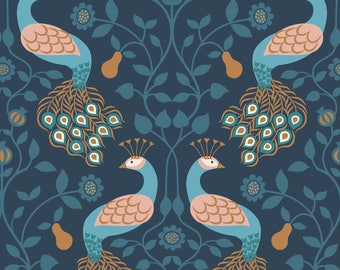 Peacock and Pear on Dark Blue  A245.3 - CHIEVELEY - Lewis and Irene Fabric - By the Yard
