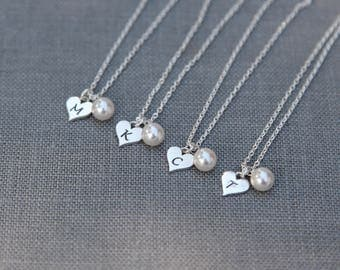 Personalized Bridesmaid Necklace Set of 4, Bridesmaid Jewelry, Sterling Silver Heart Necklace Initial, Bridal Party Gift