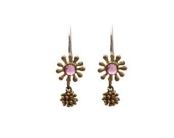 Garnet Drop Earrings in Flower Shape