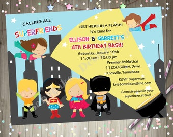 Superhero Birthday Invitation Invite superhero party boy girl birthday siblings birthday invitation superfriends birthday invite printable