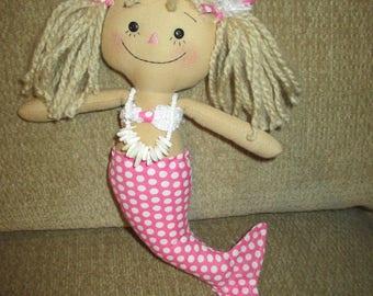 Mermaid Raggedy Ann in pink