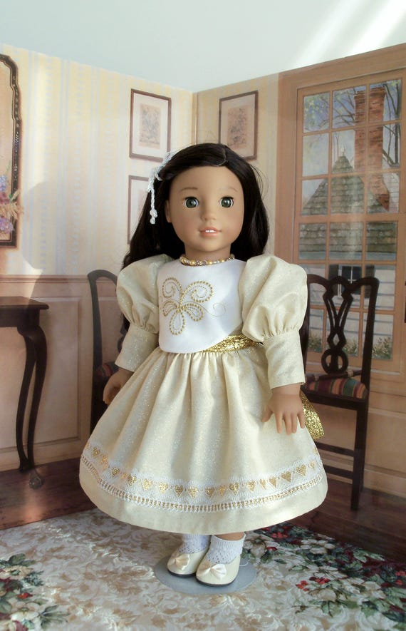 """18"""" Size/ Exquisite Formal Christmas Dress and Necklace  Fits  American Girl or Other 18"""" Dolls"""