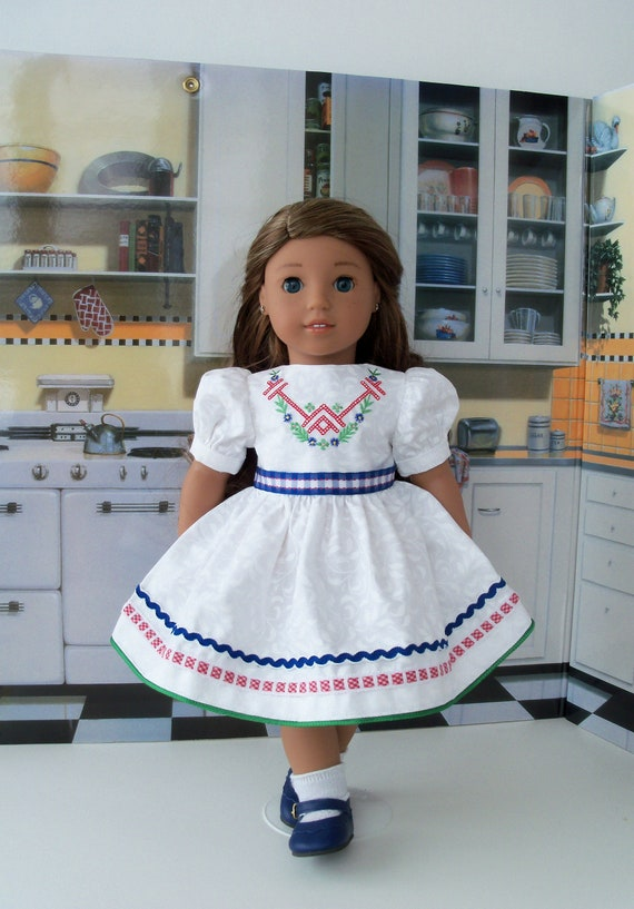 """Fits Like 18 Inch American Girl DOLL CLOTHES / Embroidered Dress and Shoes for 18"""" Dolls"""