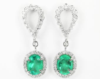 5.40tcw Colombian Emerald Ovals & Diamond Cluster Drop Stud Earrings 14k White, Oval emerald and diamond earrings,  Natural Emerald Earrings