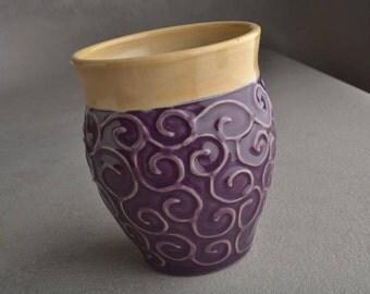 Purple Curls Tumbler Ready To Ship Purple Tan Tumbler by Symmetrical Pottery