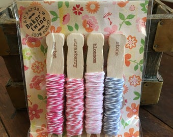 Baker's Twine Kit, bundle of four colors.  20 yards total, 100% cotton twine, made in USA.  Crafting or gift wrap.  Pink stripes pack.