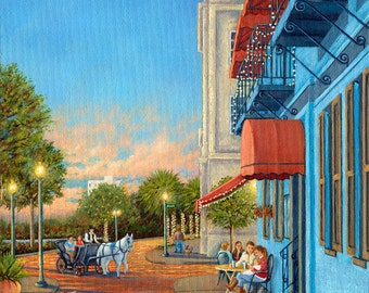 Riverboat Landing Restaurant, Blue Restaurant, Wilmington, NC - Cafe scene, horse and carriage, horse and buggy signed art print