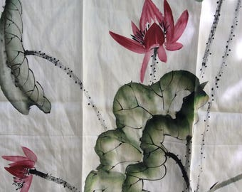 Vintage Silk Scarf - Floral Silk Scarf - Tropical Scarf - White Silk Scarf - Pretty Vintage Scarf - Square Scarf