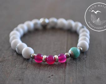 Bracelet pierres naturelles - Howlite - Amazonite - Agate - Bijou yoga - Bijou bohème - Bracelet blanc - 7 pouces - Coco Matcha