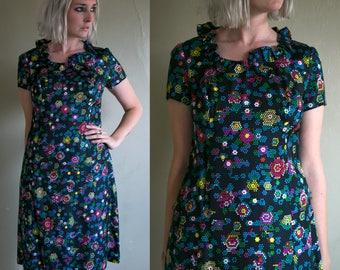 Vintage 1960's French Room Silk Short Sleeved Ruffled Dress, Women's Neon Geometric Print Dress, Milwaukee
