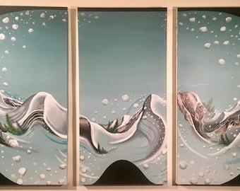 world of snowboarding NatesPaintsAbstract acrylic Painting, Fine Art, contemporary, home decor, organic, naturalistic, modern art, triptych