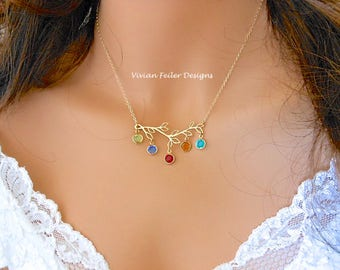 Mother Necklace Grandma BIRTHSTONE FAMILY Branch Tree Jewelry, Sterling Silver or 14K Gold Filled Christmas Gift