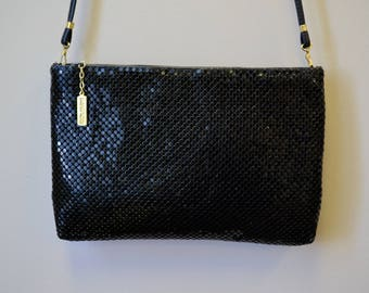 1990s Whiting and Davis Black Metal Mesh Purse