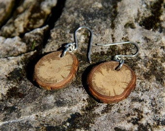 bark and cream -  oak - sterling silver and natural wood earrings