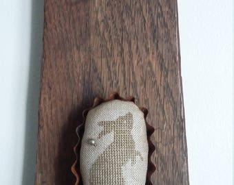 "primitive cross stitch BUNNY RABBIT 3"" oval tart tin pin cushion"