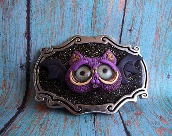 Ding the Bat Belt Buckle, polymer clay sculpture,collectible,OOAK,functional art,fashion accessory,covington creations