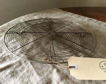 Large size high quality VINTAGE FRENCH round wire cake / cooling rack. Vintage kitchen / display.