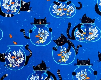 Cats Fabric, childrens fabric, Kitties fabric 100% cotton fabric for Quilting, arts, crafts and general sewing projects.