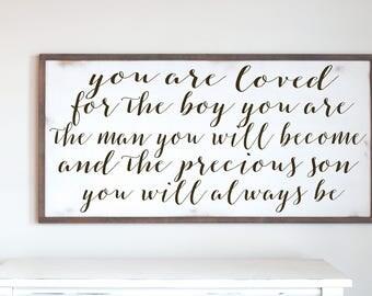 Loved For Boy You Are, Boy Room Decor Ideas, Modern Farmhouse, Farmhouse Style, Kids Room Decor, Nursery Art, Wall Art Print, Rustic Sign