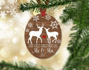 Just Married First Christmas as Mr. and Mrs. Ornament, Wedding Ornament, Just Married Christmas Ornament, Faux Wood, Christmas Gift (060)