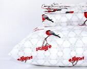 Organic duvet cover  - WINTER BIRDS duvet cover -FULL size big girl bedding - organic duvet cover - girl duvet cover - comforter cover