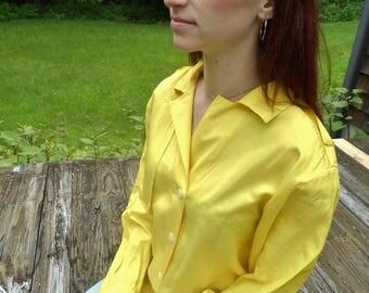 yellow silk oversize blouse  / button down blouse / silk minimalist top / s / m