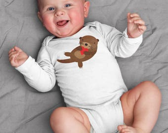 Valentines baby clothes, otter baby bodysuit for baby boy or baby girl, unique baby gift