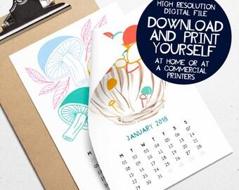 Printable 2018 Calendar Mushroom Illustration Desk Calendar Art Prints