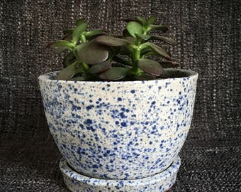 Planter pot + dish | white with blue speckles