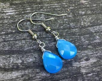 Turquoise Cats Eye Glass Teardrops . Earrings