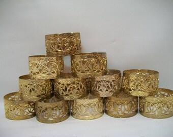 Vintage, Set of 12, Gold Tone Metal Napkin Rings, Filigree Napkin Rings, Fleur De Lis Napkin Rings, Formal Napkin Rings, Elegant Table