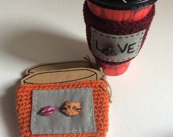 Orange cat cozy, coffee cozy, coffe sleeve, I love my orange cat, cat  lover gift, Valentine's Day gift, coffee lover
