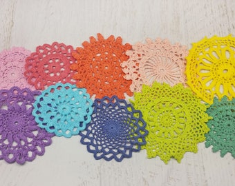 10 Colorful Hand Dyed Crochet Doilies, Small Rainbow Doilies, 2 to 4.5 inch Craft Doilies, Crochet Mandalas