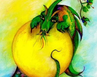 Spring Dragon-Whimsical Fantasy Art Print by SQ Streater-Free Shipping