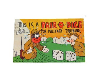 Authentic 1940s Black Americana Postcard - This is a Pair-O-Dice - Used Postcard Politically Incorrect Classic Black Americana Postcard