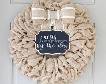 Guests Must Be Approved By Dog Summer Wreaths for Front Door Summer Door Decor, Personalized Housewarming Gift,  Front Door Wreaths