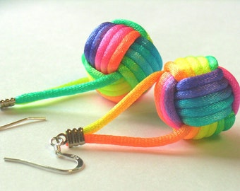 925 Silver Earrings with Rainbow Ball, Monkey Fist Knot