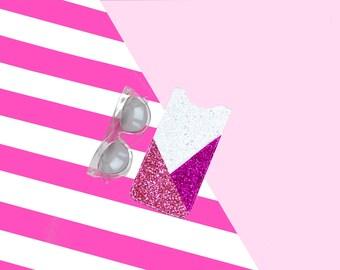 Pink and White Glitter Sunglasses Case, Sunglasses Pouch, Sunglasses Holder