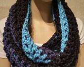 Black Blue Crochet Infinity Scarf Chunky Crochet Scarf Blue Infinity Scarf Black Infinity Scarf Blue Infinity Scarf Handmade Infinity Scarf