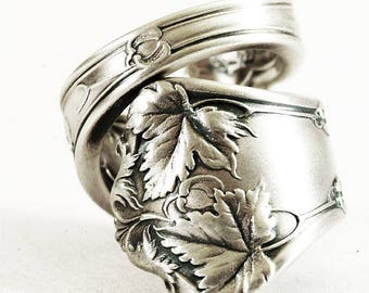 Maple Leaf Jewelry, Nature Inspired Ring, Sterling Silver Spoon Ring, Gift for Her, International Silver Co Edgewood, Adjustable Ring (6779)