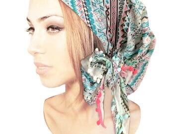 Turquoise Head Scarf Tichel Turban Wrap Cream Pink Boho Chic Bad Hair Day Chemo Head Scarves Hair Snood Pre tied Bandana ShariRose