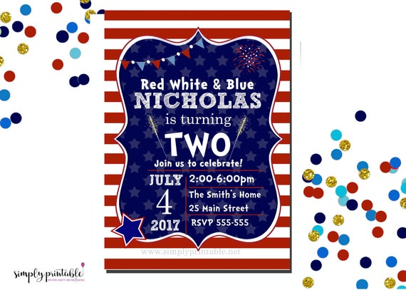 4th of July Birthday Invitation, Red White and Blue Invite, 2nd Bday, Fourth of July