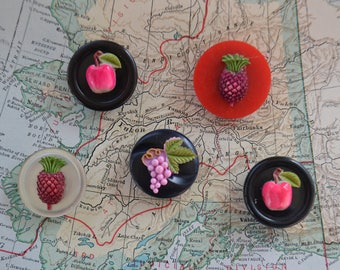 Vintage Kitchy Colorful Fruit Magnets Lot of 5