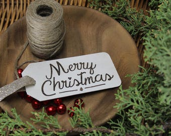 Merry Christmas - Christmas - Tag - Ornament - for Rustic, Farmhouse, Boho, Primitive Styles