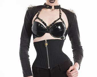 "Black Zipper Corset XS 23"" for a 26-28"" waist - (Artifice photoshoot sample)"