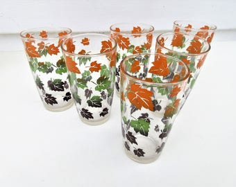 Vintage Leaf Glasses | Mid Century Glassware | Autumn Leaves Tumblers | Set of 6