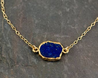 Lapis Gem Slice 14k Gold Filled Choker, Layered Necklaces, Boho Necklace, Dainty Choker Necklace, Gift for Her, Birthday Gift, Minimalist