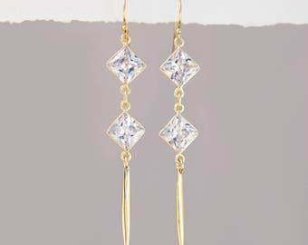Elegant Crystal Earrings, Clear Gold Earrings, Diamond Drop Earrings, Bar Drop Earrings Gold, Spike Earrings, Modern Earrings, BFF Gifts