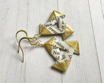 Literary Triangles // Gold Origami Earrings
