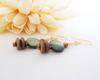Olive Earrings, Mother of Pearl, Copper Anniversary Gift for Wife, Boho Earrings Bohemian Jewelry, Mothers Day Gift for Mom, Gift for Aunt